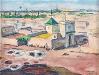 le douar - vue plongeante sur marrakech - le souk khemis à marrakech (3 works) by albert lepreux