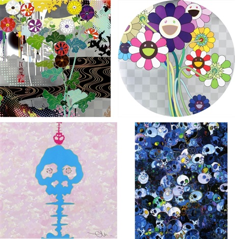 kansei platinum/ purple flowers in a bouquet/ bokan - camouflage pink/ mcbst?2011 (set of 4) by takashi murakami
