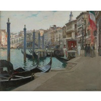 wedding day at the rialto bridge, venice by oliver dennett grover