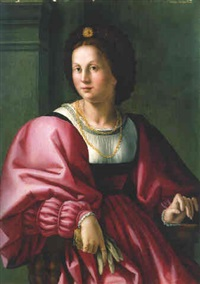 portrait of a lady, seated three-quarter length, holding a glove by bacchiacca