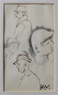 figures with hats by keith vaughan