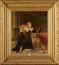 jeune fille à la mandoline et son chien by théodore reh