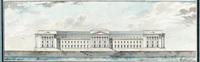 répétitions des façades sur l'entrée principale et le grand canal du projet de château (2 works) by jean-augustin renard