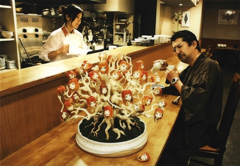 ai chan bonsai pine at japanese style restaurant by makoto aida