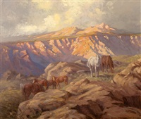 mountainous landscape with horses grazing by allerley glossop