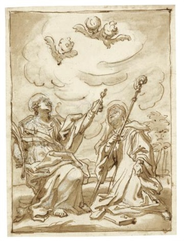 two kneeling saints by domenico piola