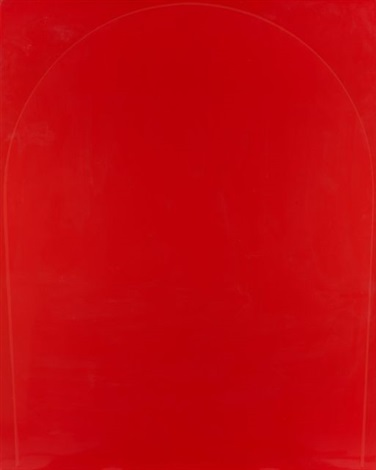 poured painting red light red red diptych by ian davenport