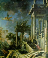the portico of a classical palace with a winged youth, cupid and a nymph by francesco aviani