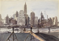 new york skyline from brooklyn by reginald marsh
