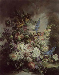 flowers in an urn with wooded landscape by max fuhrmann