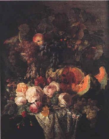 nature morte à la coupe de fruits melon et roses sur un entablement by simon saint jean