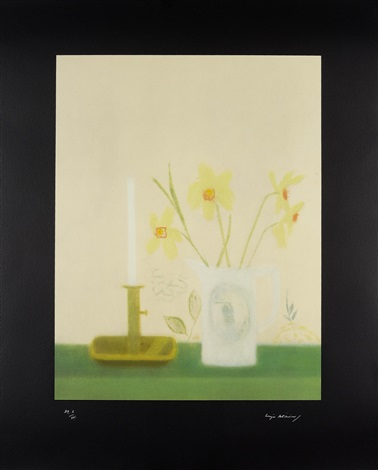 daffodils and candlestick ship vase and rose 2 works by craigie aitchison
