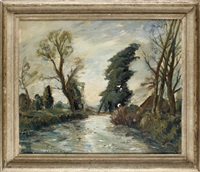 a river landscape by adrian keith graham hill