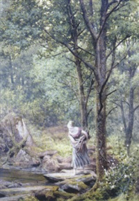 the riverside glade, a young country girl gathering wood by a stream by james barnes