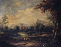 contadini in riva la fiume con borgo sullo sfondo by jean antoine vernet