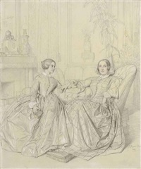 comtesse charles d'agoult, née marie d'agoult, and her daughter claire d'agoult by jean-auguste-dominique ingres
