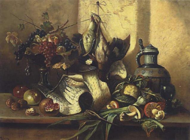 stillleben mit früchten pilzen und schnepfe by edmond morin