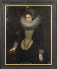 portrait d'une dame de qualité à la fraise blanche by frans pourbus the younger