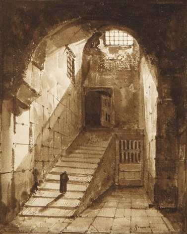 la montée des marches du bénédictin dans un vieux couvent by françois marius granet