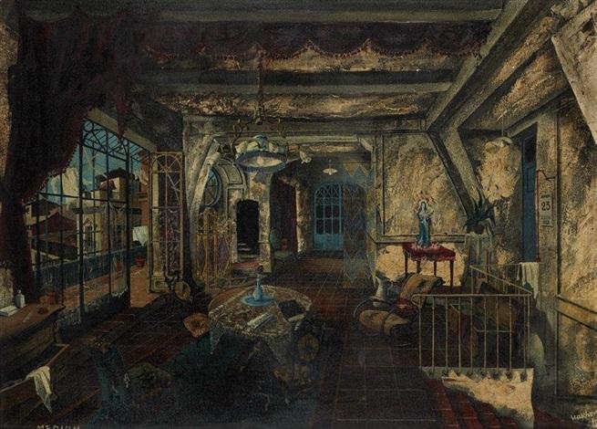 Le Médium Décor Design For Opera Of Menotti By Georges Wakhevitch On
