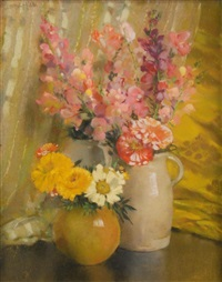 sweet peas, zinnias, snapdragons and marigolds by laura coombs hills