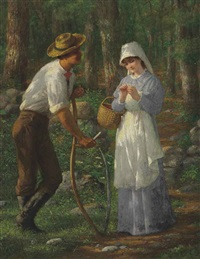 pastoral--he loves me, he loves me not by enoch wood perry