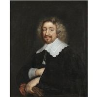 portrait of a man, half length, wearing a black tunic with embroidered collar and cuffs, holding a pair of gloves by abraham de vries