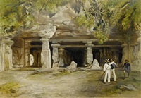 temple of elephanta near bombaby (+ 2 others; 3 works) by william simpson
