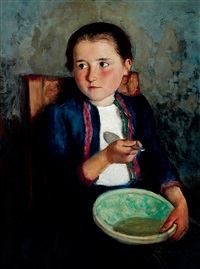 girl eating soup by oszkár glatz