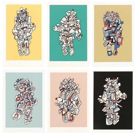 présence fugace portfolio of 6 by jean dubuffet