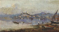 paese con barche e pescatori by a. scoppa