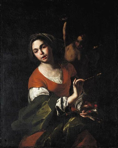 a personification of painting by bernardo cavallino