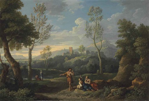 an italianate lanscape with figures by jan frans van bloemen