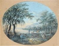 paysage à la baie et arbres by agostino aglio