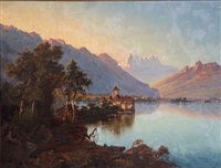 an extensive landscape with lake geneva and the château de chillon in the foreground by joseph firmenich