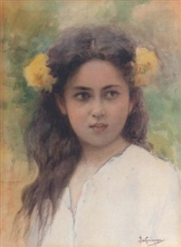 portrait of a girl by vikentios bokatsiabi