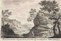 travellers on a path in a rocky wooded landscape by jacopo leonardis