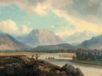 troupeau dans un gué au pied des montagnes by nicolas-victor fonville