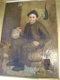 boy carving a turnip seated on a barrel by james campbell