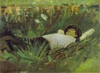 femme couchée dans l'herbe by jean helleu