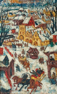 winter country town by witold zacharewicz