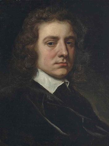 portrait of a gentleman half length in a black coat and white collar by sir peter lely