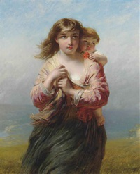 mother and child on a hillside overlooking the sea by james john hill