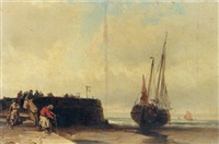figures at a harbour at low tide by louis bentabole