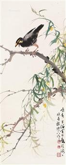 鸣春 立轴 设色纸本 (bird、flower) by huang huanwu