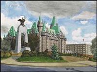 monument and chateau laurier by edward john hughes