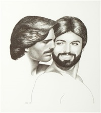 double portrait of larry paulette and friend by tom of finland