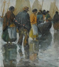 fisherfolk on the beach by arturo pacheco altamirano