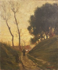 figure on a road at dusk by augustus koopman