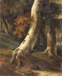 tronc d'arbre (study) (after ruisdael) by achille etna michallon